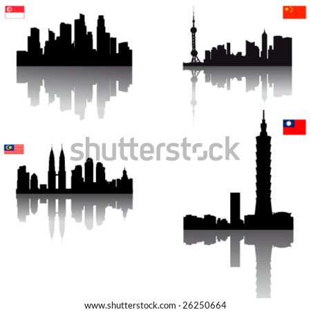 Black vector silhouette skylines of Asian towns (Singapore, Taipei, Kuala Lumpur & Beijing) with Flags