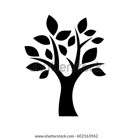 Black Vector Simple Decorative Tree Icon Stock Vector ...