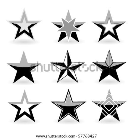 Black vector star set - stock vector