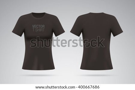 Black vector T-shirt. Woman T-shirt template isolated on background. Realistic mockup. - stock vector