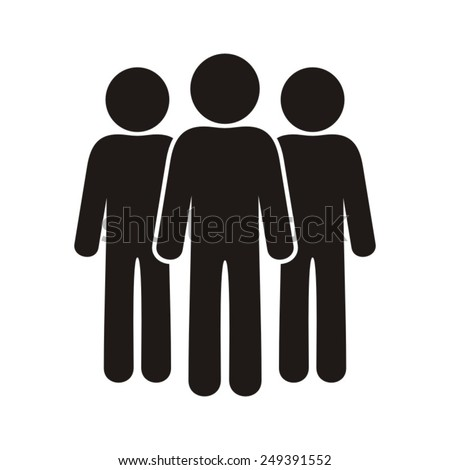 Black vector team icon isolated on white background - stock vector