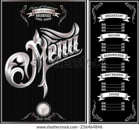 black vector template for the cover of the menu - stock vector