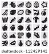 black vector vegetables and fruits icon set on gray - stock vector