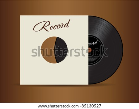 Black vector vinyl disc with cover isolated on brown background