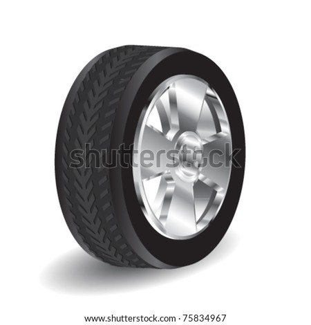 black vector wheel - stock vector