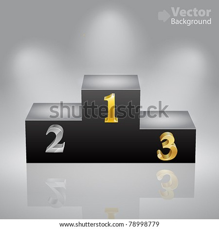 Black victory podium with first, second and third places - stock vector