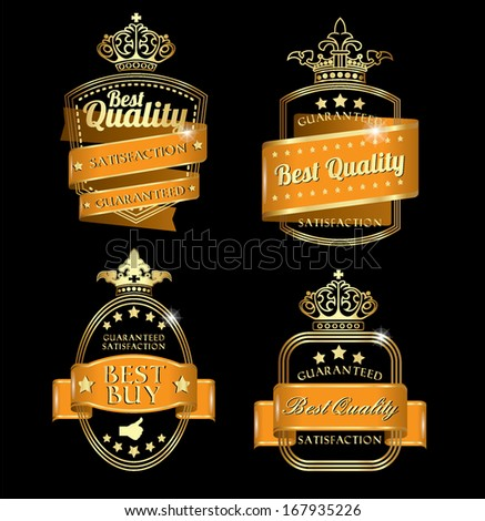 black vintage retro golden orange quality labels usable on background of any color - stock vector