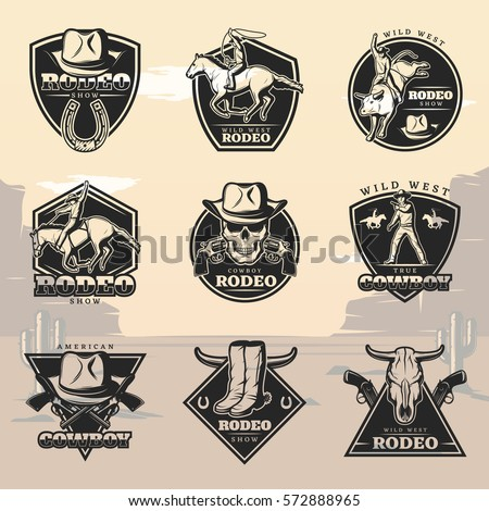 Black Vintage Rodeo Logos Set Cowboys Stock Vector ...