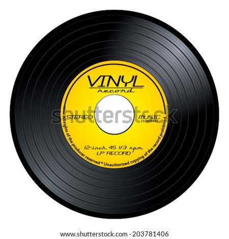 Black vintage 45 rpm vinyl record with old yellow label. LP isolated on white background, retro music vector art image illustration  - stock vector