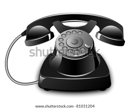 Black Vintage Telephone. Vector illustration