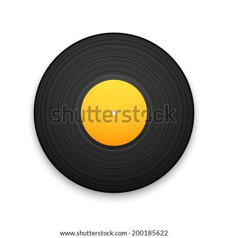 Black vintage vinyl record isolated on white background, retro music vector illustration - stock vector