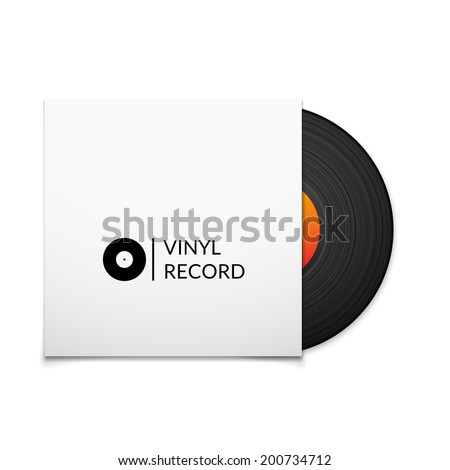 Black vintage vinyl record with blank cover case isolated on white background, retro music vector illustration - stock vector
