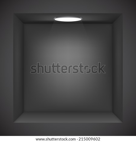 Black wall with empty niche for exhibition. - stock vector