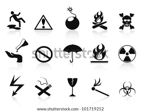 black warning icons set - stock vector