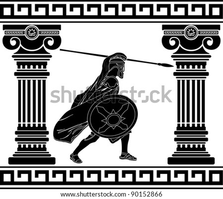 black warrior with with columns. second variant - stock vector