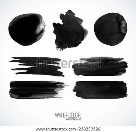 Black watercolor banners and bubbles. Isolated shapes and brush strokes on white background. - stock vector