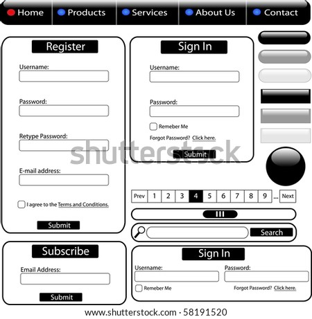 Black web forms and buttons - stock vector