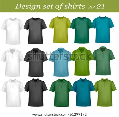 Black, white and colored men polo and t-shirts. Photo-realistic vector illustration - stock vector