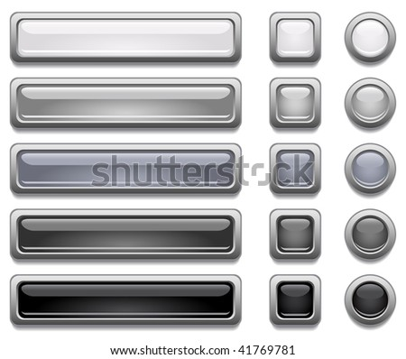Black, white and gray shiny vector buttons