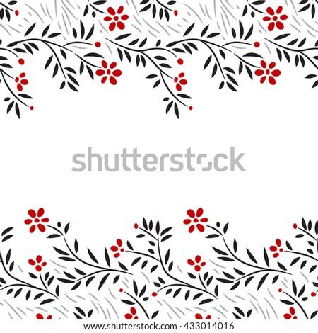 Black white and red flowers horizontal seamless border on white, vector - stock vector