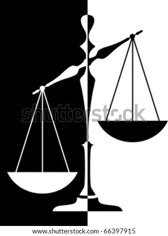 black - white balance scale isolated - stock vector