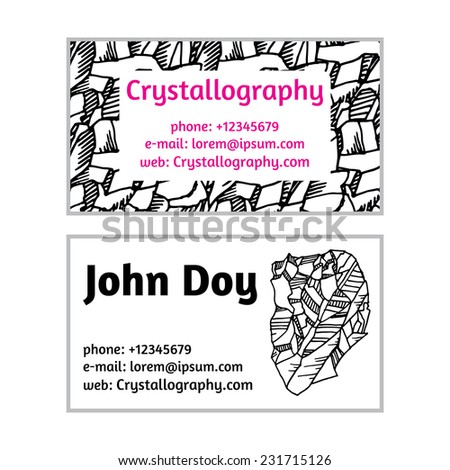 black white business cards in crystallography Doodle - stock vector