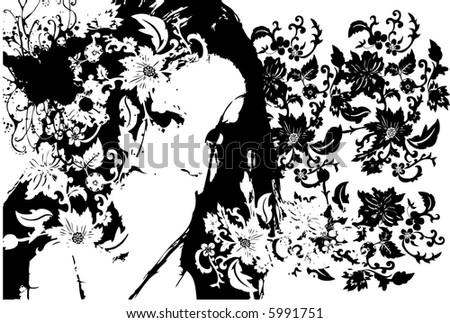 black & white girl illustration 2 - stock vector