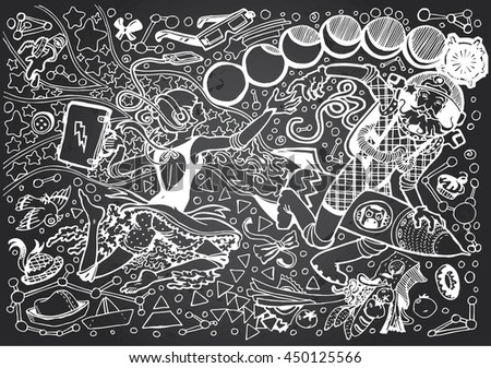 Black & White Sci Fi Illustration of the Girl and an Astronout in Open Space (Hand drawn on Gray Chalkboard) - stock vector
