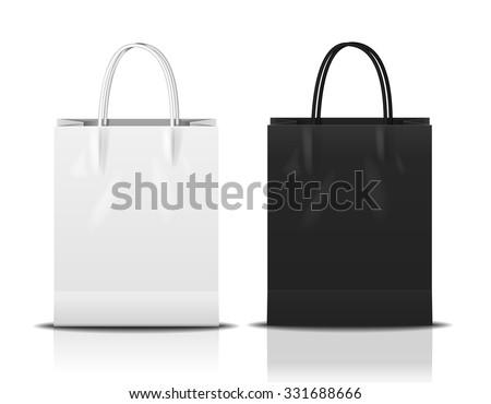 black & white shopping bag, vector Illustration - stock vector