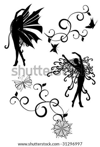 black white silhouette images - stock vector