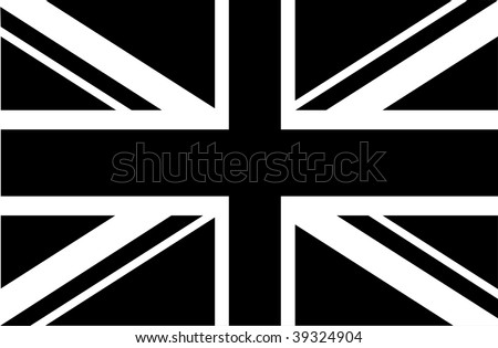 Black & white union jack - stock vector