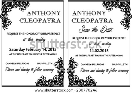 Heart shaped roses wedding invitation card stock vector 230773159 black white wedding invitation card vector template stopboris Images