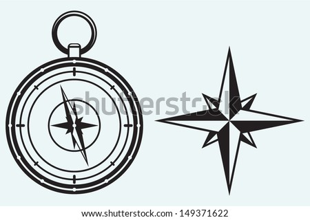 Black wind rose and compass isolated on blue background - stock vector