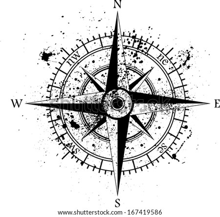 Black wind rose isolated on black. eps10 - stock vector