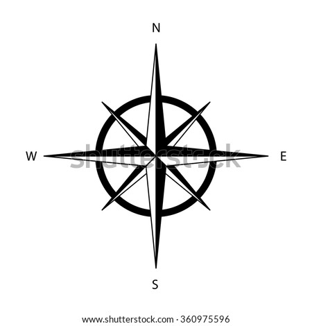 Black wind rose isolated on white background - stock vector