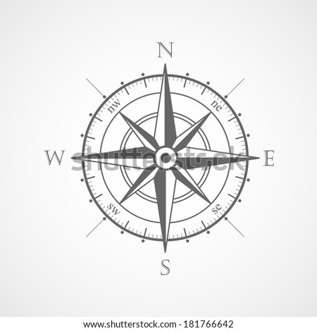 Black wind rose isolated vector illustration - stock vector