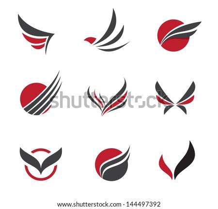 Black wing logo symbol for a professional designer - stock vector