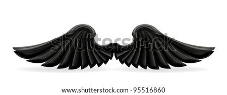 Black wings, vector - stock vector