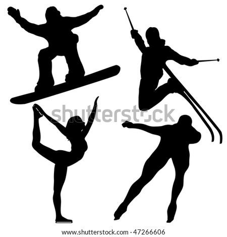 Black Winter Games Silhouettes. Editable Vector Image - stock vector