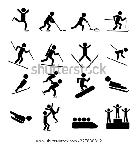 Black Winter Sports/Games Icons - stock vector