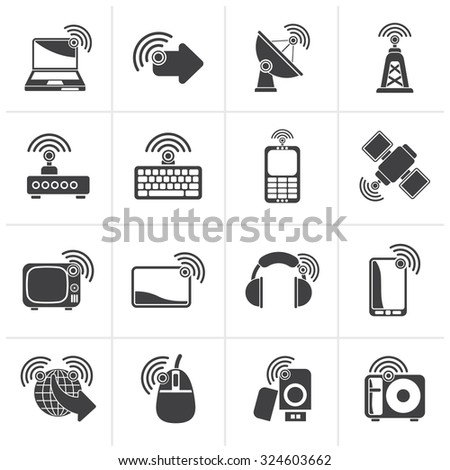 Black wireless and technology icons - vector icon set - stock vector