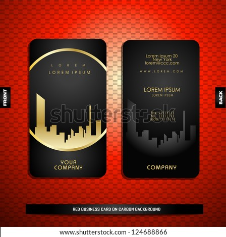 Black with gold business card on carbon background - stock vector