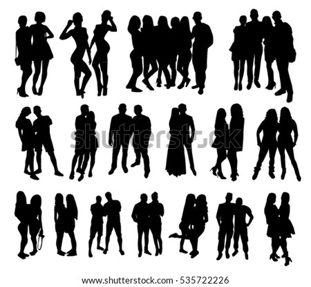 Black woman and man lover and friend silhouette set