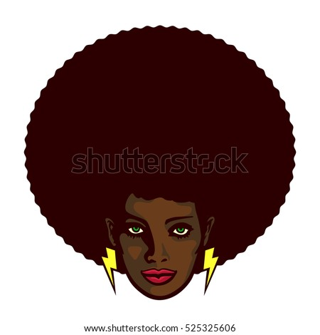 Funky Cool African Woman Face Afro Stock Vector 523833046