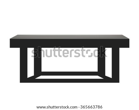 Black wooden table isolated on white background - stock vector