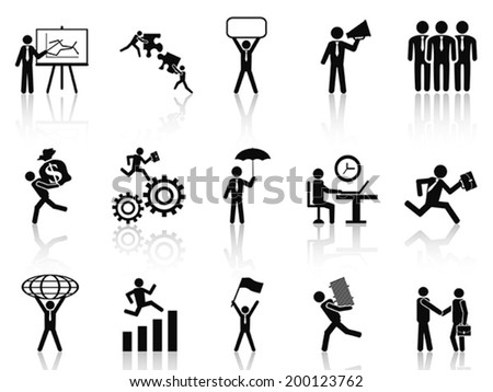 black working businessman icons set - stock vector