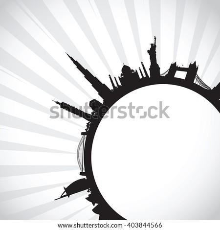 black world landscape cityscape - stock vector