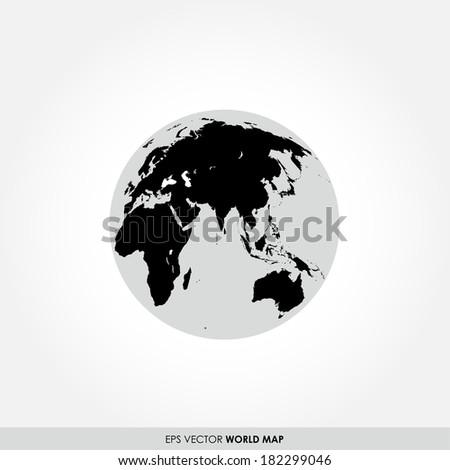 Black world map on globe icon - stock vector