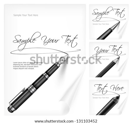 Black writing tools and white paper sheet with signs & text, vector illustration. Vector Illustration. - stock vector
