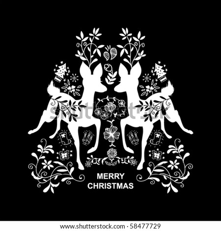 black Xmas card - stock vector